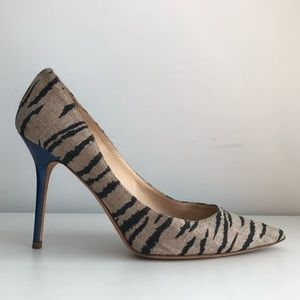 JIMMY CHOO ABEL ZEBRA CANVAS PRINT PUMPS